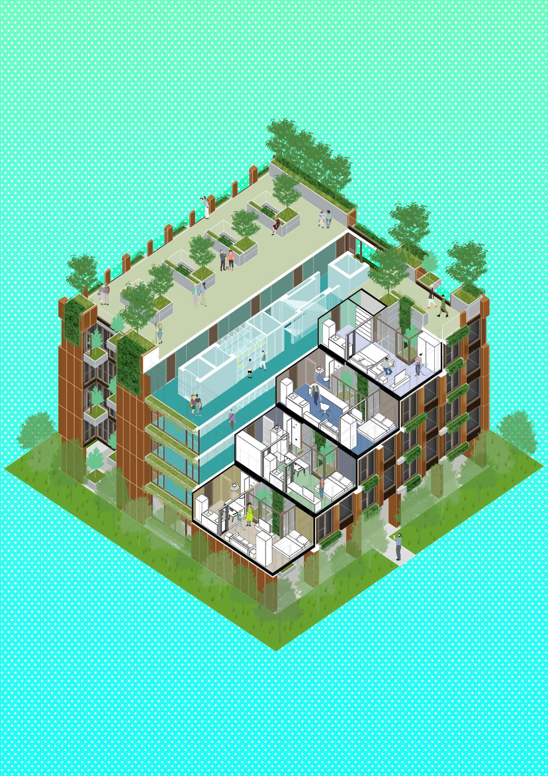 18183_NonA Social Distancing Housing Block_Unit